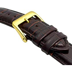 Padded Croc Grain Genuine Leather Watch Strap band 18mm Brown Gilt (Gold Colour) Buckle