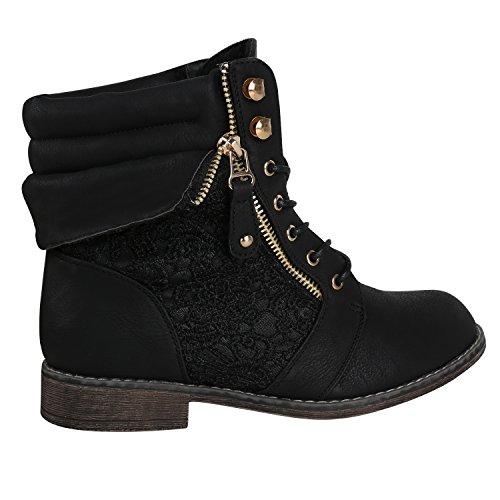 Damen Stiefeletten Worker Boots Leder-Optik Schnürstiefeletten Stiefel Camouflage Booties Blockabsatz Spitze Gr. 36 - 42 Flandell Schwarz Spitze Carlet