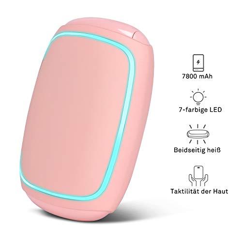 PEYOU Handwärmer Powerbank 7800mAh, Taschenwärmer USB, elektrische Handwärmer, handwärmer wiederverwendbar Mit 7-farbigem LED-Licht, Beidseitige Beheizung, Geschenk für Frauen Kinder Mann im Winter