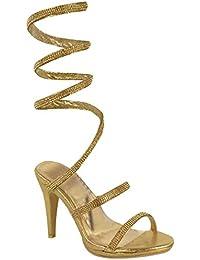 Escarpins sandales - talons hauts - femme - avec strass - tailles 36 à 41
