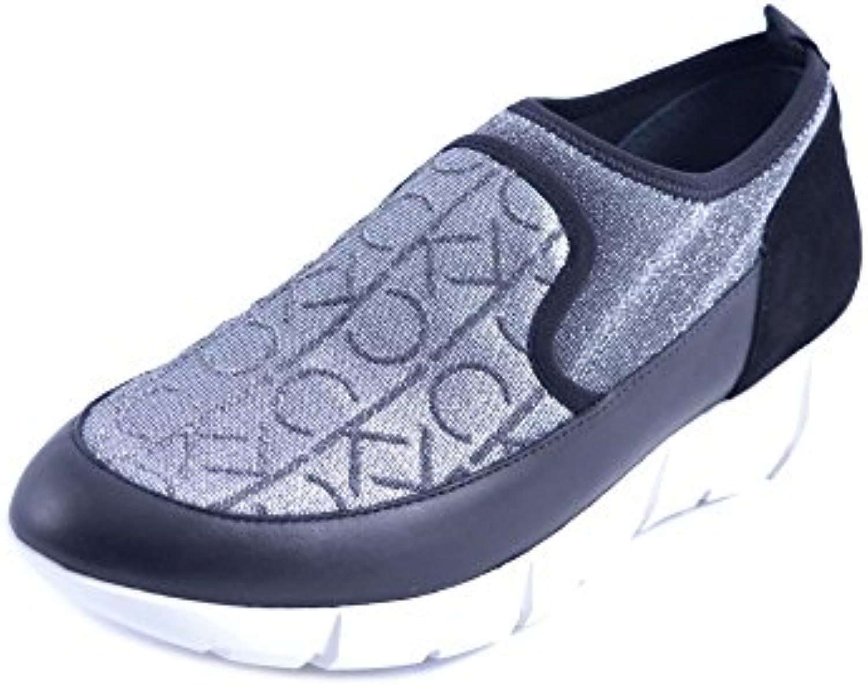 Calvin Klein Zapatos Slipon Mujer Tejido Logo Brillo Negro Plata Talla 39