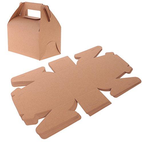 ken DIY Candy Cookie Geschenk-Boxen aus Kraftpapier für Gäste - Braun, 14,5 x 13 x 8,5 cm (Hochzeits-kuchen-bevorzugung Boxes)