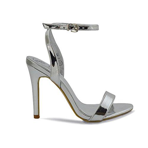 ESSEX GLAM Donna Peep Toe Stiletto Cinturino alla Caviglia Sintetico Sandalo Argento metallizzato