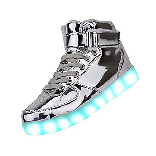 Gloria JR Frauen Mens High Top USB Aufladung LED Schuhe Blinkender Sneaker (EUR39, Silber)