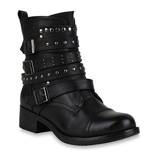 Stiefelparadies Damen Schuhe Stiefeletten Biker Boots Nieten Leicht Gefütterte Stiefel 146110 Schwarz Arriate 39 Flandell