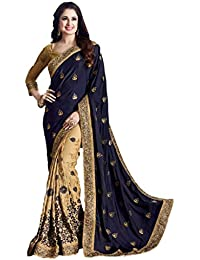 M.S. Retail Women's Satin Embroidered Saree With Blouse Piece - AC-JHARNA_1_Blue_Free Size
