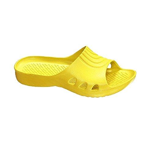 xHobby Badeschuhe Badelatschen Schwimmbadschuhe für Erwachsene Modell Palermo und Madrid P-Gelb