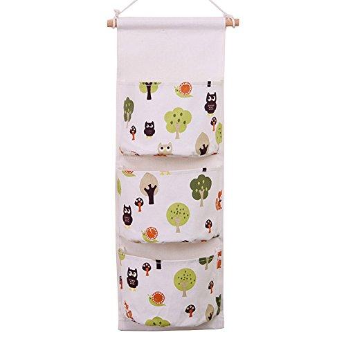 Preisvergleich Produktbild hangnuo mehrschichtiges Tuch mit Fächern, zum Aufhängen an Tür oder in Schrank, Organizer, Aufbewahrungstasche eule