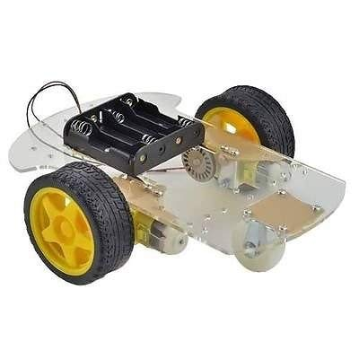 3-Wheel Smart Robot Car Chassis (2WD) with Speed Encoder and Battery Box for Arduino / Raspberry. (Power 6 Wheels Volt Batterie)