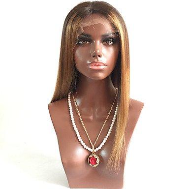 : T1B/4/30loose Wave Frontbefestigung Echthaar Perücken mit Baby Haar für schwarz Frauen Medium braun Gap (Baby Gap Halloween)