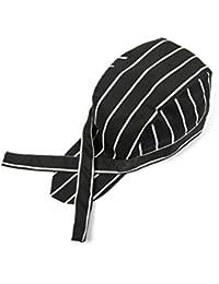 LEORX - Gorro de cocina a rayas, blanco y negro