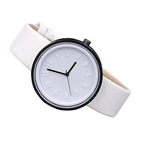 Coolster Unisex Einfache Zahl Uhren Bequeme Segeltuch-Gürtel Armbanduhr Armband (Weiß)