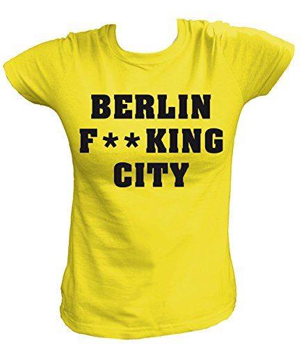 Artdiktat Damen T-Shirt - Berlin Fucking City Größe S, Gelb