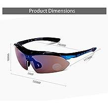 Carfia TR90 UV400 Unisex Gafas de Sol Deportivas Polarizadas 5 Lentes de Cambios Incluido para Deporte y Aire Libre Ciclismo Conducción Pesca Esquiar Golf Correr Negro Brillo + Azul