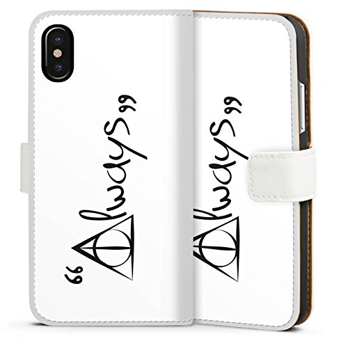 Apple iPhone 8 Hülle Case Handyhülle Always Harry Potter Statement Sideflip Tasche weiß