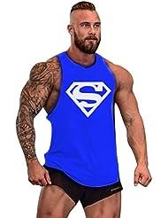 Gillbro para hombre GYM muscular entrenamiento de la camiseta sin mangas Patrón culturismo Superman