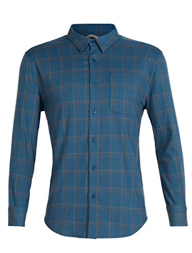 Icebreaker Herren Merino Kompass Lightweight Button Down Flanell Shirt Merino, Herren, Compass Flannel Long Sleeve Shirt, Thunder/Timberwolf/Hydro Plaid, Large -