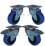 Coldene Castors Heavy Duty Industrial Blue Rubber Tyred Swivel Wheel Bearings Castors - 125mm / 5