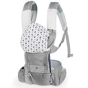 Lictin Mochila Portabebés – 6 en 1 Portabebe Ergonómico con Asiento Transpirable y Ajustable, con Dos Baberos de Algodón, una Cadena de Chupete, Adecuado para Bebés de 3.5KG a 15KG