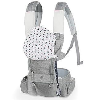 Lictin Mochila Portabebe – 6 en 1 Portabebe Ergonómico con Asiento Transpirable y Ajustable, con Dos Baberos de Algodón, una Cadena de Chupete, Adecuado para Bebés de 3.5KG a 15KG
