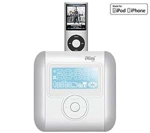 Ozaki iMini Cute Enceintes avec radio réveil pour iPod et iPhone Argent