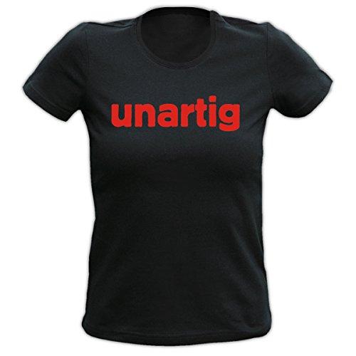 Witziges Spaß-Shirt Damen + gratis Fun-Urkunde: Girlie T-Shirt: unartig Schwarz