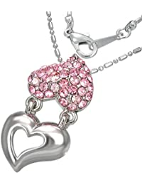 Mode Kristall Doppel Liebe Herz Versprechen Charm Halskette mit Schmucksteinen - Rosa