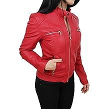 Giubbotto giacca donna ecopelle rosso giubbino giacchetto casual simil pelle
