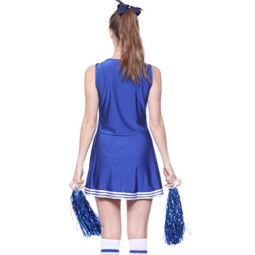 Cheerleader Kostuem Uniform Cheerleading Cheer Leader mit Pompom Minirock GOGO Damen Maedchen Karneval Fasching -