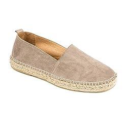 weltenmann Premium Herren Slip-on Espadrilles aus Wildleder mit Schuhbeutel, Pebble, 42, Handmade in Spain