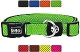 Hundehalsband Halsung aus Air-Mesh verschiedene Farben und Größen XS, S, M, L, XL: verstellbar, leicht, atmungsaktive, gepolstert, luftdurchlässig, soft, weich, stark, stabil, farbig, für große und kleine Hunde, by DDOXX (Leine und Geschirr separat erhältlich) (Grün, XS - 1,5 x 21-30 cm)