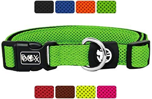 DDOXX Hundehalsband Air Mesh in vielen Farben & Größen für kleine & große Hunde | Halsband Hund Katze Welpe | Katzenhalsband klein | Hunde-Halsbänder breit Leuchtend | Grün, S