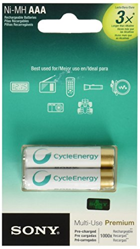 Sony 2er-Pack AAA NiMH-Akkus Sony Cycle Energy Blue NiMH-Akkus Baugröße AAA 2er-Pack: stets einsatzb (Cycle Nimh)
