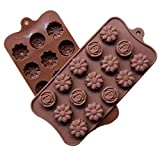 Best-Bag - Stampo riutilizzabile in silicone a forma di fiore e rosa, 15 fori, per cioccolatini, gelatine, ghiaccio, fai da te