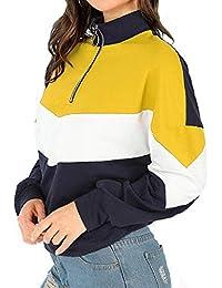 Yisaesa Damenmode Color Patch Henley Shirts Pullover mit Reißverschluss  (Farbe   Gelb, Größe   c4368cc452