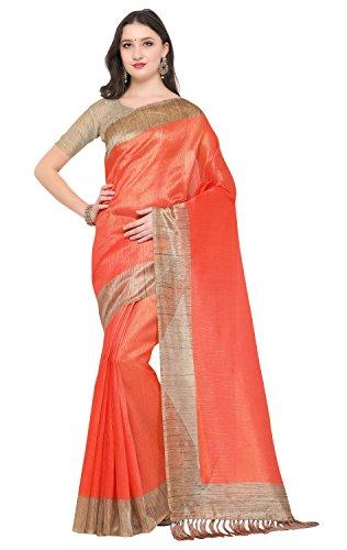 Rajnandini Women's Tussar Silk Plain Saree (Light Orange)