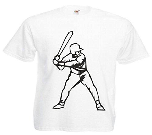 Motiv Fun T-Shirt Baseball Mega Sports Hobby Freizeit Sport Club Motiv Nr. 4567 Weiß