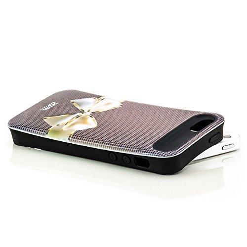 Saxonia. Saxonia Coque de protection arrière rigide Avec motif Pour Apple iPhone 5 5S Fuck off / England Schleife grau
