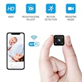 Mini fotocamera FREDI WLAN HD 1080P Mini telecamera di sorveglianza Nanny Security con sensore di movimento e visione notturna a infrarossi per iPhone/Android Phone/iPad