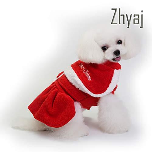Zhyaj Haustier Hund Kleidung Weihnachten Kostüm Nette Warme Winter Jacke Mantel Kleidung Für Hund Katze Santa Kostüm Kleid Outfit,A,M