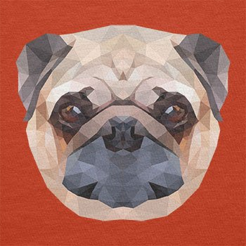 TEXLAB - Poly Pug Face - Herren T-Shirt Orange