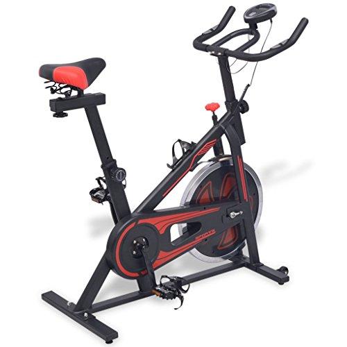 Festnight Bicicleta de Spinning con Sensores Negra y roja