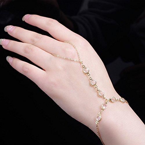 Simsly Kristallarmband Gold Handkette mit Ringzubehör für Frauen und Mädchen