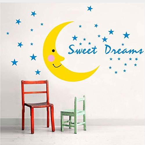 WHXJ Große Gelbe Lächeln Mond Süße Traum Wandaufkleber Frauen Kinder Wohnzimmer Schlafzimmer Wohnkultur Selbstklebende Aufkleber Vinyl Poster