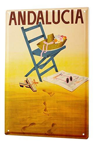 Blechschild Welt Reise Spanien Andalusien Stuhl Hut Sandalen Sonnenbrille Wand Deko Schild 20X30 cm