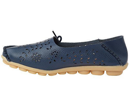 Vogstyle Damen Casual Slipper Flatschuhe Low-top Schuhe Erbsenschuhe Navy-Art 2