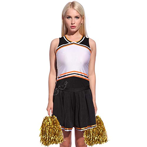 (Anladia Cheerleader Kostüm, Mädchen Cheerleading Uniform Cheer Leader Kleid mit 2 Pompoms)