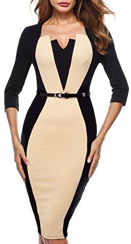 HOMEYEE Frauen Vintage 3/4 Ärmel knielangen Bodycon Formal Kleid B405(EU 40 = Size L,Aprikose + Schwarz) Kleider Für Damen Formale