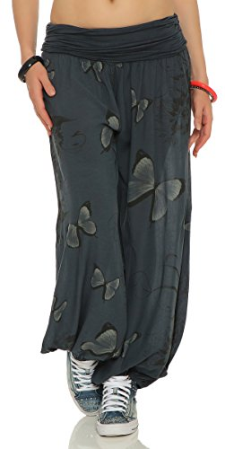 ARMEXX Damen Pumphose Pluderhose Harem-Stil Sommerhose Baggy Yoga Pants all over Print Butterfly Freizeithose Aladinhose Hose One Size (Einheitsgröße: Gr. 36-42, anthrazit)