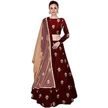Shree Impex Women's Embroidered Taffeta Silk Semi-Stitched Lehanga Choli